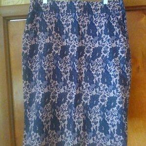 Mikarose lace tan beige black floral skirt